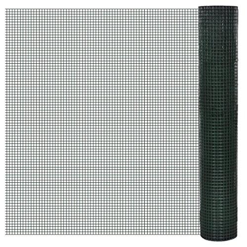 Festnight 1 m x 25 m Rete per Recinzione Acciaio galvanizzato RIV. PVC 16x16 mm