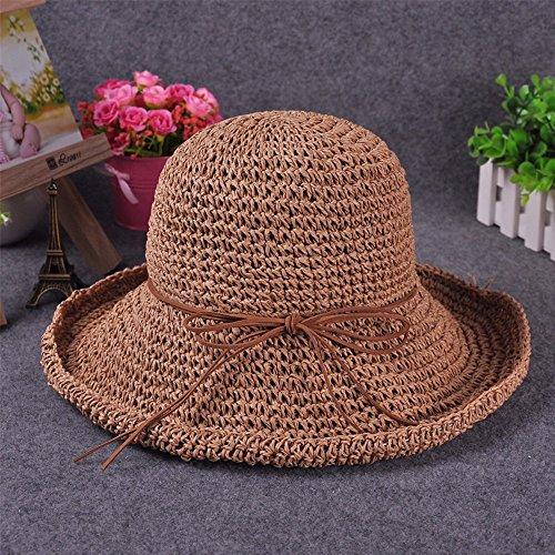 GXFC Chapeau de soleil à la mode Lady summer,chapeau de soleil en paille,chapeau de plage pliable,chapeau de paille,circonférence de la tête ajustée(56-59)cm Khaki Color