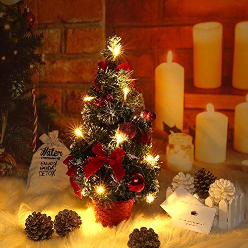 Lucoss Mini Sapin de Noel Artificiel, Petit Arbre de Noël avec des lumières LED, Mini Desktop Arbre Décoration pour Bureau Commercial Bar 40CM Rouge