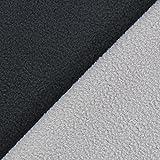 Fabulous Fabrics Fleece Doubleface – Hellgrau/anthrazit — Meterware ab 0,5m — zum Nähen von Jacken und Mänteln, Kleidern und Sweatshirts