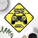 Señal de puerta de Gamer Zone calcomanía de pared arte dormitorio habitación de niños decoración de juegos de papel pintado c
