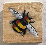 Bumble Bee / Biene / Hummel Spray Gemalte Bild Malerei - Geschenk für ihn / Geburtstag / Muttertag? - 10 x 11 cm