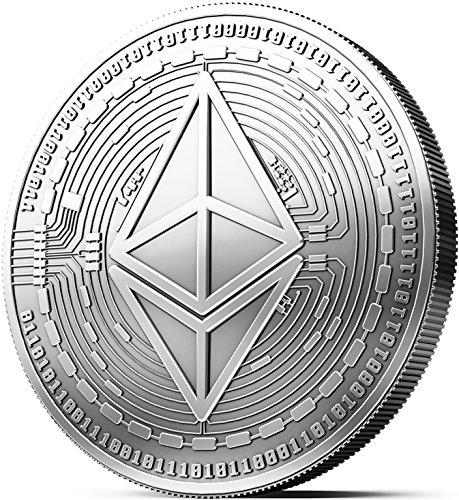 Moneda física de Ethereum revestida en plata auténtico. Una verdadera pieza de coleccionista, con estuche protector. Una adquisición obligada para todo fanático del Ethereum