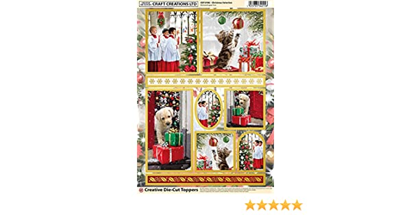 Christmas Santa Selection Gold Foiled /& Die Cut A4 Sheet Toppers SQ