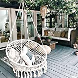 SAFETYON Outdoor hammock chair Indoor Livingroom hanging Macrame Chairs swing hammock rattan chair Home deco/boho style/Patio cushion/Yard/swinging chair for bedroom/hanging chairs for bedrooms (Type A)