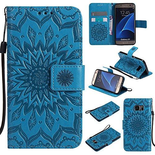Für Samsung Galaxy S7 Fall, Prägen Sonnenblume Magnetische Muster Premium Soft PU Leder Brieftasche Stand Case Cover mit Lanyard & Halter & Card Slots ( Color : Purple ) Blue