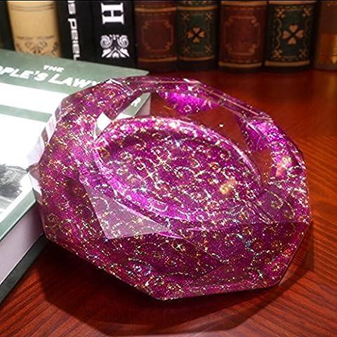 Xuan - worth having Purple Red Clouds Pattern Octagon Bright Style de couleur Cristal Cendrier Cadeaux créatifs de la personnalité de la mode cendrier ( taille : 18*18*4cm )