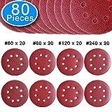 AUSTOR 80 pezzo dischi abrasivia a 8 fori per levigatrice eccentrica grana 20 x 60/ 80/ 120/ 240