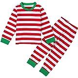 puseky Conjunto de pijama de Navidad para niños y niñas con rayas y pantalones para el hogar