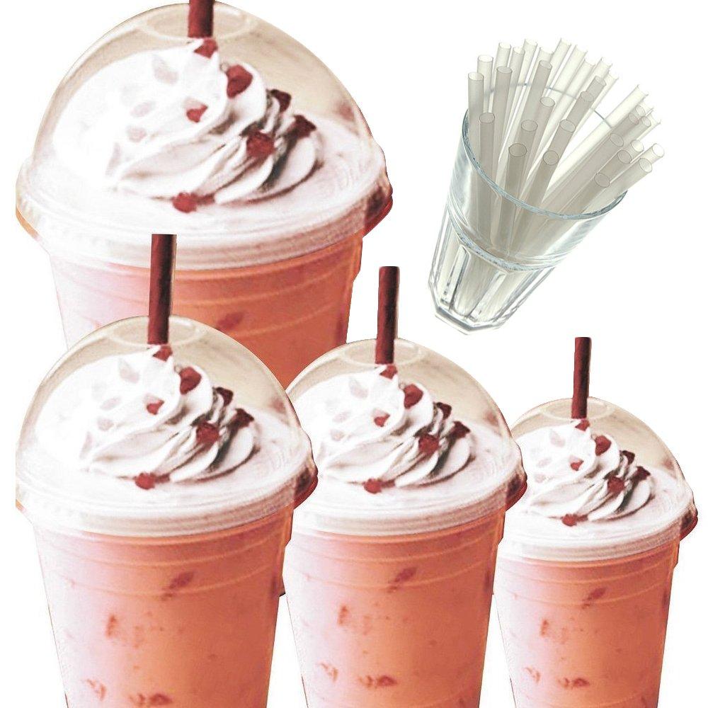 453,6gram smoothie/milkshake tazze con cupola coperchi & cannucce Clear Straw