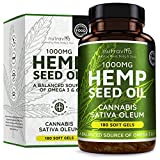 Hemp Seed Oil 1000mg Supplement 180 Soft Gels | Pure Cold Pressed Oil | 180 Soft Gel Capsules | 1000mg per capsule | A Balanced Source of Omega 3 & 6 | Developed and Manufactured in the UK by Nutravita