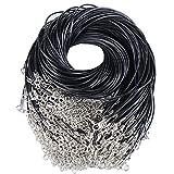 100pcs 49cm Cuerda Cordones de Collar Ajustable Negro Collar de Cadena Colgante + Broche de Langosta para Bricolaje Collares Pulsera (100pcs negros)