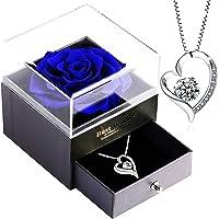 Infinity Rosen-SWEETIME Blaue Rosen Geschenkbox mit 925er Sterling Silber Damen Halskette,Für Immer Rose mitkette Damen…