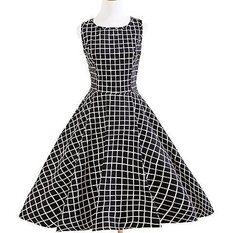 A-line, motivo: cerchi, colore: nero/bianco A scacchi, stile Rockabilly 1950s abiti Vintage (50s 60s Dress)