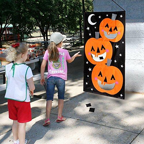 AerWo Halloween Kürbis Spiel Hängende Art Kürbis Bohnenbeutel Toss Spiel + 3 Bohnenbeutel, Halloween Party Cornhole Party Spiele für Kinder und Erwachsene 76X138cm - 5