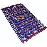 Beni Ourain azul con rojo y amarillo diseños–Tejida a mano hecho a mano Kilim–lana alfombra Bereber de lana 1,34x 0.79m