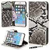 9a18d234225 Madcase Apple iPhone 6/iPhone 6 Plus/iPhone 5s/iPhone 5 Premium Cartera de  Cuero para tarjetas de crédito/Gel De Silicona/Cocodrilo cuero/Transparente  Funda ...