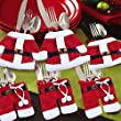 HAPPY ELEMENTS 6pcs Santa Claus Suit Christmas Cutlery Silverware Holder Pockets Christmas Decorations Supplies Dinner Table Decor