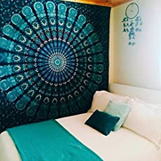 Sovereigns Cotton Hippie Mandala Bohemian Psychedelic Intricate Floral Design Indian Magical Thinking Bedspread (Medium, Green Peacock Feather)