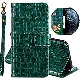 Miagon Krokodil Flip Hülle für Xiaomi Redmi Note 8,Stilvoll PU Leder Wallet Tasche mit Standfunktion Magnetisch Brieftasche Bookstyle Schutzhülle,Grün