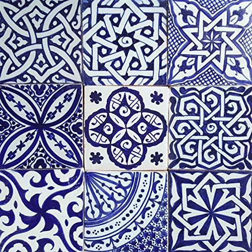 Casa Moro Orientalische Fliesen Mix 10x10 cm blau weiß 9er Packung handbemalte marokkanische Fliesen Patchwork   Kunsthandwerk aus Marokko   Wandfliesen für schöne Küche Dusche Badezimmer   HBF8400