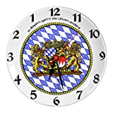 Unbekannt Bayerische Rückwärts-Uhr Teller mit Freistaat Bayern Wappen und Rauten Durchmesser 27cm