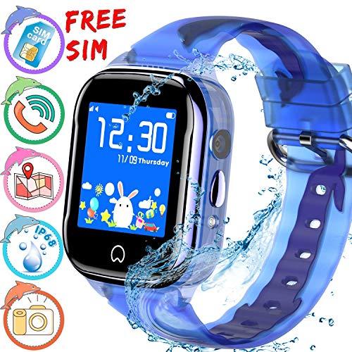 ONMET [SIM Incluida] Reloj inteligente para niños, resistente al agua, reloj gps niños, monitor de actividad física, SOS Calling, cámara de chat de voz, monitor remoto para niños y niñas