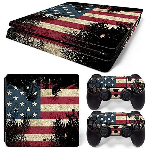 Skins4u® Sony Playstation 4 Slim Skin Design Premium Vinyl Motiv Schutzfolie Aufkleber inkl. 2 PS4 Controller Skins Sticker Goth Patriotic US Flagge