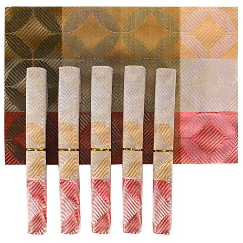 HOKIPO® PVC Dining Table Kitchen Placemats, 45 x 30 cm, 6 Pieces, 1 Set