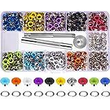 400 Juegos 3/16 Pulgada Kit de Ojales de Multicolor Ojetes de Metal con Herramientas de Instalación y Instructor en Caja Transparente