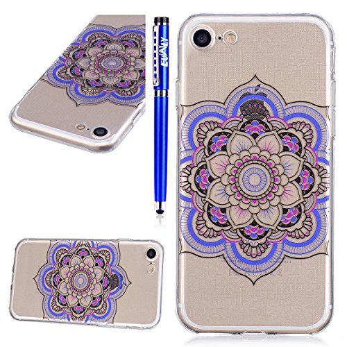 EUWLY Cover per iPhone 5S/iPhone SE,Bello Dipinto Immagine Disegno Silicone Custodia per iPhone 5S/iPhone SE,Shock-Absorption Bumper e Anti-Scratch Protettiva TPU Soft Silicone Cover [Rotazione Grip R Mandala Fiore Colorato
