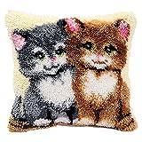 Katze Knüpfkissen für Kinder und Erwachsene zum Selber Knüpfen DIY Kissen Latch Hook Kit 41 x 41 cm