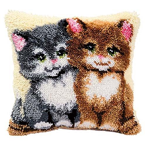 Beyond Your Thoughts Katze Knüpfkissen für Kinder und Erwachsene zum Selber Knüpfen DIY Kissen Latch Hook Kit 41 x 41 cm -