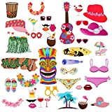 Homankit 42 Stück Flamingo Hawaii Foto Requisiten Foto Accessoires für Sommer Strand Urlaub Hochzeit Partei Dekorationen