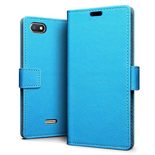 SLEO Xiaomi Redmi 6A Hülle, PU Leder Case Tasche Schutzhülle Flip Case Wallet im Bookstyle für Xiaomi Redmi 6A Cover - Blau