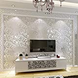 Tapeten 10M Schlafzimmer Vliesstoff Hauptwand-Dekor, Luxus Damast Geprägt 3D Welle Beflockung Wallpaper (53sqfeet)(UK Stock)
