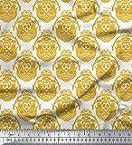 Soimoi Gold Baumwolle Batist Stoff Vogel & orientalische