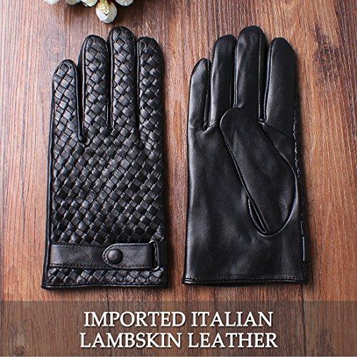 nappaglo hommes est authentique nappa cuir gants pour l'hiver part en écran la conduite des mitaines black (écran)
