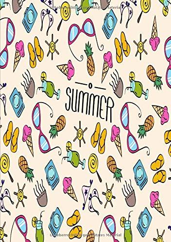 Sommer mit buntem Strandequipment: sommerliches Notizbuch für jedermann