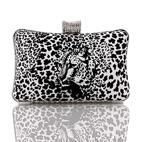 KAXIDY Damen Clutch Damentasche Leopard Abendtasche Party Hochzeit Handtasche Schwarz