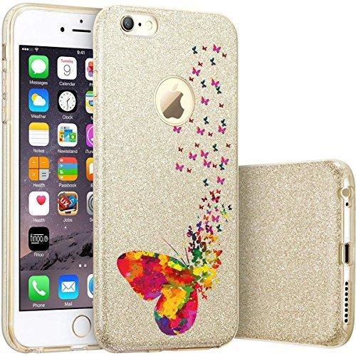 finoo | iPhone 6 Plus / 6S Plus Pinke bedruckte Rundum 3 in 1 Glitzer Bling Bling Handy-Hülle | Silikon Schutz-hülle + Glitzer + PP Hülle | Weicher TPU Bumper Case Cover | Queen Black Viele Schmetterlinge