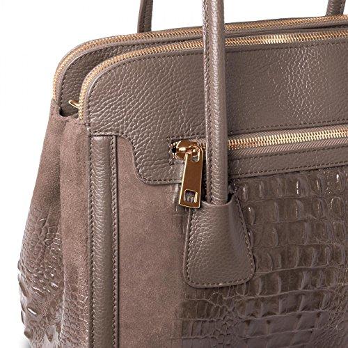 CASPAR - Sac à main en DAIM - sac bandoulière avec impression crocodile - plusieurs coloris - TL676 kaki