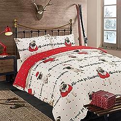 Dreamscene–All I Want para Navidad Pug funda de almohada con funda de almohada ropa de cama para perro rojo–doble