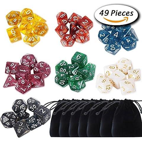 Paxcoo 7 x 7 (49 Stück) Dungeons und Drachen Polyhedral Würfel Set für DND RPG MTG D20 D12 D10 D8 D6 D4