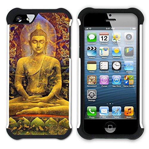 Graphic4You Buddha Buddhistisch Hart + Weiche Kratzfeste Hülle Case Schale Tasche Schutzhülle für Apple iPhone SE / 5 / 5S Design #2