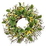 Kranz Stiefmütterchen mit Blüten und Zweigen Blumenkranz Deko Tischdeko Grün