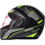 Dass Diesel-X(ISI) Full Face Helmet Black (Neon Graphic) Size - L (Clear Visor)