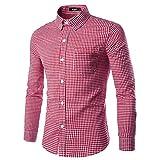 Nutexrol Trachtenhemd für Trachten Lederhosen Freizeit Hemd rot-kariert für Oktoberfest M