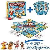 Monopoly Junior Unser Sandmännchen Brettspiel Spiel mit 4 extra Bullyland Spielfiguren Sandmännchen, Moppi, Pittiplatsch und Schnatterinchen