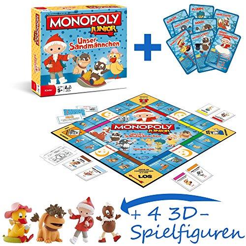Monopoly Junior Unser Sandmännchen Brettspiel Spiel mit 4 extra Bullyland Spielfiguren Sandmännchen, - Ddr Monopoly Edition